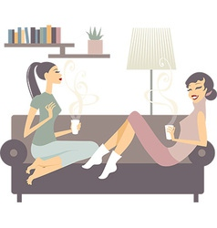 Female friends with coffee cups vector