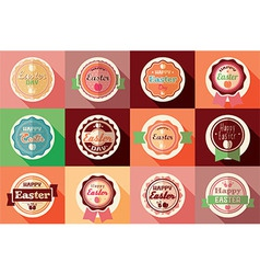 Collection of vintage retro Easter labels vector image