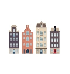 Urban european houses on the white background vector