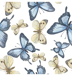 Seamless pattern watercolor butterfly vector