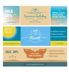 A set of banners for the travel and tourism resort vector