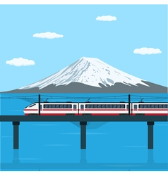 Train on the bridge vector