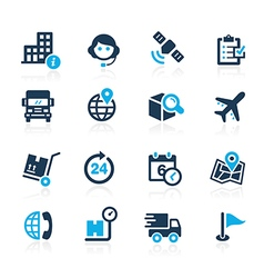 Shipping and tracking icons azure vector
