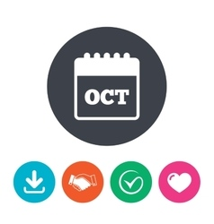 Calendar sign icon october month symbol vector