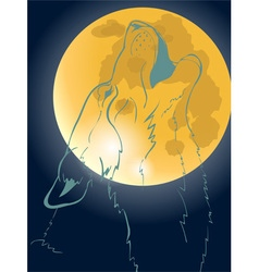 Wolf howling at the moon vector