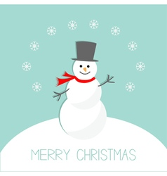 Cartoon snowman on snowdrift and snowflakes blue vector