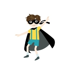 Kid in superhero costume with black cape vector