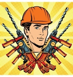 Male builder work and electric drill vector