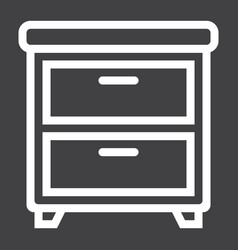 Bedside table line icon furniture and interior vector