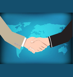 business concept handshake on world map background vector image