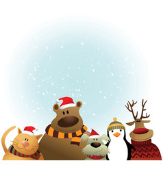 Christmas card with animals vector