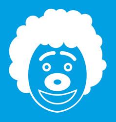 Clown head icon white vector