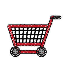 Color crayon stripe shopping cart with wheels vector