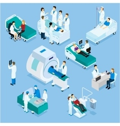 Doctor and patient isometric set vector