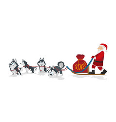 Dogs sled team and santa with chrismas red bag vector