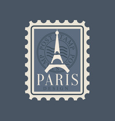 eiffel tower silhouette on postage stamp of france vector image vector image