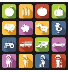 Farm Icons Set Flat vector image vector image