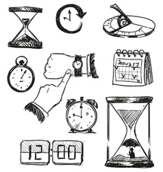 Freehand sketch of time symbols vector image