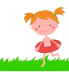 Girl runs across grass with circle for swimming vector