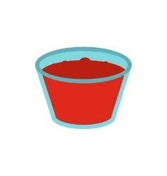 Glass of red apple juice icon vector