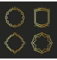 Golden emblems and badges frames set vector image vector image