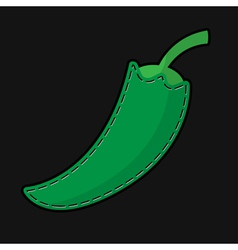 Green seam paprika with shadow vector