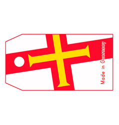 Guernsey flag on price tag with word made in vector