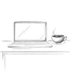hand drawn laptop with coffee sketch vector image