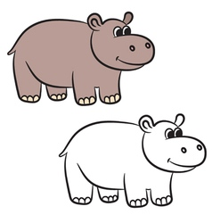Hippo coloring book vector