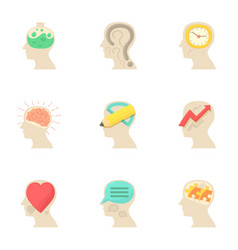 Imagination in head icons set cartoon style vector