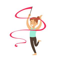 Little girl doing rhythmic gymnastics exercise vector