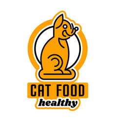 Logo on the theme of food for cats taking care of vector