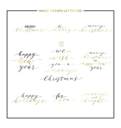 Merry Christmas gold text set happy new year vector image