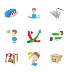 Purchase in store icons set cartoon style vector image vector image