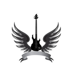 rock music label winged guitar musical sign vector image vector image