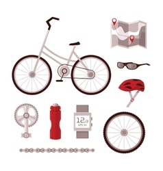 Set bicycle accessories vector