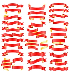 Set of Red Golden Celebration Curved Ribbons vector image