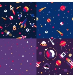 Space Seamless Pattern 4 Samples Square vector image vector image