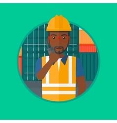 Port worker talking on wireless radio vector