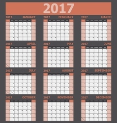 Calendar 2017 week starts on sunday orange tone vector