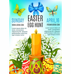 Easter egg hunt celebration poster template design vector