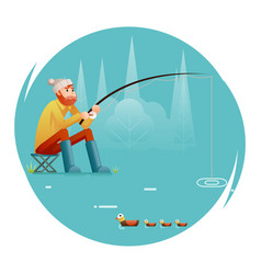 Fishing adult fisherman with fishing rod birds vector