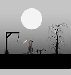 Spooky background with grim reaper with scythe vector
