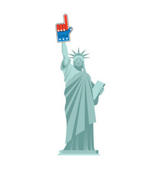 Statue of liberty and foam finger landmark us vector
