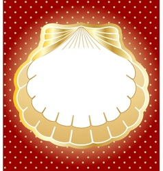 Gold frame made of pearl shells background vector