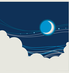 night sky poster background with half moon and vector image