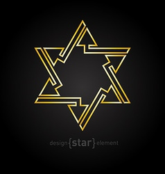 Abstract golden star with arrows on black vector