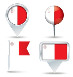 Map pins with flag of malta vector