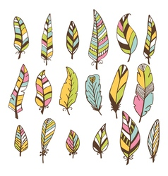 Set of hand drawn feathers doodles design elements vector