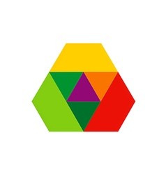 Abstract color pyramid technology logo vector